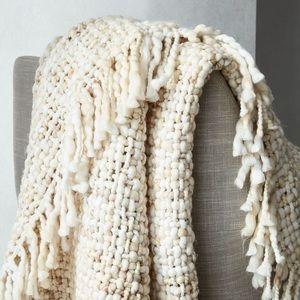Marled Basketweave Chunky Knit Throw Blanket